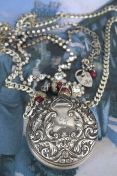 Antique Silver Angel necklace, Chatelaine object Assemblage,  Cherubs, French jewelry, Antique pocket watch, Victorian scroll, Art jewelry, Antique Art, Antique Silver, Old Pocket Watches, Angel Necklace, Pocket Watch Necklace, Scroll Pattern, Gold Wash, Assemblage, Cherubs