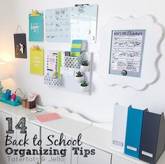 14 back to school organizing tips and ideas. Create a family command center, homework station and get your kids' closets organized!