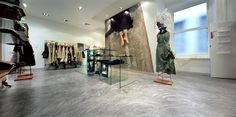 Modern concrete look in a boutique done with SEMCO seamless stone.
