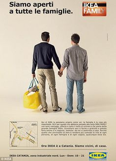 The billboard made for Italy, says  'We are open to all families', showing a gay couple holding hands but has caused outrage in the Catholic country