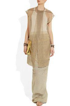 RICK OWENS Shrimp mesh and shell maxi skirt $1,123