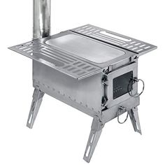 DANCHEL Outdoor Tent Wood Stove with Pipe is a portable stainless-steel structure with folding side racks and legs, and a glass front window. Portable Wood Stove, Camping Wood Stove, Tent Stove, Stainless Steel Stove, Stove Heater, Rocket Stoves, Steel Structure, Galvanized Steel, Outdoor Cooking