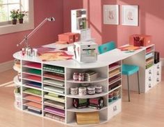 5 Craft Room Ideas for Small Spaces. And, I love this idea for creating a desk and storage! Gail