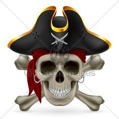 Pirate Skull In Red Bandana ja kolmikolkkahattu With ...