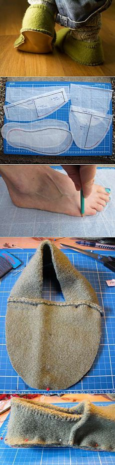 Best Crochet Slippers Tutorial Old Sweater Ideas Sewing Slippers, Felted Slippers, Crochet Slippers, Sewing Hacks, Sewing Tutorials, Sewing Patterns, Tutorial Sewing, Knitting Patterns, Crochet Patterns