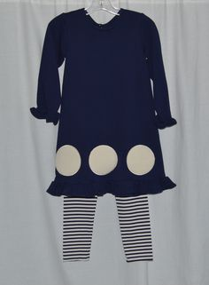 Kate Dress in Navy with included Leggings from Old Towne Kids