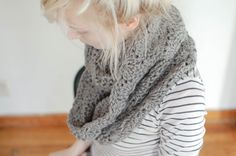 i said to myself, i need a big chunky circular scarf to wear all the time.. and this is what came of it.   i am putting this grey one in m...