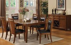 Solid Wood Dining Table with Leaf and 6 High Back Side Chair with Black Cushion in Brown Cherry Finish ADS90528,90529