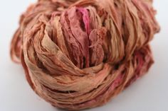 Coral Reef Light Peach Reclaimed Silk Yarn Ribbon from #DGY