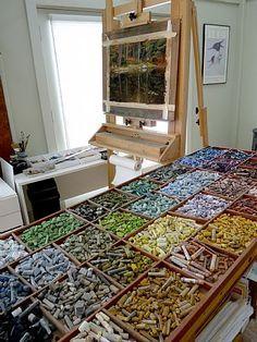 Pastels - wowowowowow I need this many micron pens, derwent pastel pencils, intense pencils, etc. My Art Studio, Dream Studio, Home Studio, Studio Spaces, Painting Studio, Atelier Photo, Atelier D Art, Atelier Creation, Art Studio Organization