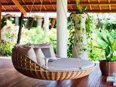 Outdoor Design, The Comfortable Of The Cool And Also Creative Ideas Swinging Porch Bed With Round Bed Ideas Hanging Outside With The Fresh Air And Good Green Plant And Wooden Flooring Ideas And The Roof ~ Make Your Day Relax With Swinging Porch Bed