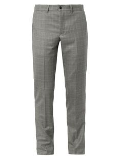 $858, Grey Plaid Wool Dress Pants: Bottega Veneta Prince Of Wales Check Wool Trousers. Sold by MATCHESFASHION.COM. Click for more info: http://lookastic.com/men/shop_items/99465/redirect