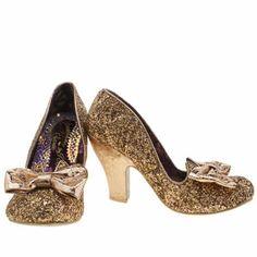 womens irregular choice gold nick of time glitter high heels