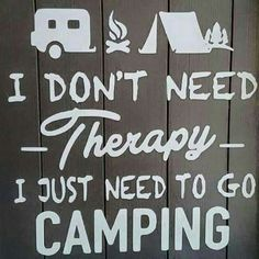 I don't need - therapy - I Just need to go Camping.