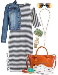 Plus Size Outfit Idea - Striped Dress