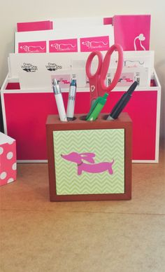 Doxie desk organizer for the crazy wiener dog mom. Yes, my office actually has that much pink!