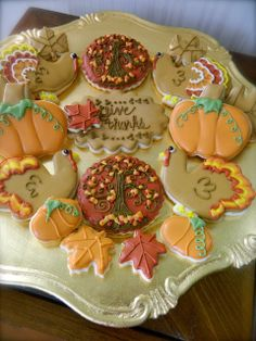 She Bakes, Thanksgiving, Themed Decorated Sugar Cookies