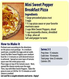 Peppers for Breakfast!  Mini Sweet Pepper Breakfast Pizza