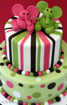 pink and green elephant cake - maybe for AL's second birthday!