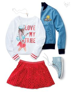 A graphic tee, sequin skirt and denim bomber = the perfect outfit for hanging wi. Kids Outfits Girls, Cute Girl Outfits, Girls Fashion Clothes, Tween Fashion, Little Girl Fashion, School Fashion, Dance Outfits, Look Fashion, New Outfits