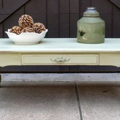 Vintage Coffee Table, Solid Wood, Upcycled Springy Mint Paint from Julies Box for $95.00