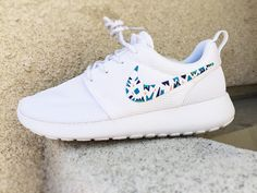 Custom Nike Roshe Run sneakers for women, triangles, purple, pink, teal, blue trendy design, all white nike roshe