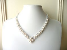Wedding Jewelry, Swarovski Pearl and Diamond Crystal Necklace, Woven Beaded Bridal Jewelry Necklace, V Shaped Necklace, Formal, Costume. $73.00, via Etsy.