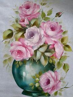 Art Floral, Oil Painting Flowers, Fabric Painting, Painting & Drawing, Tee Kunst, Flowery Wallpaper, Tea Art, Beautiful Roses, Vintage Flowers