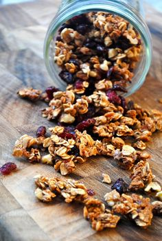 Honey Quinoa Flax Granola *substitute rice cereal w/ slivered almonds and cranberry creme honey w/ regular honey