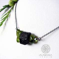 Czarny turmalin - oryginalny, minimalistyczny naszyjnik srebrny / Alabama…