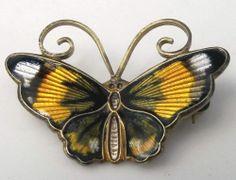 Vintage David Andersen Norway Sterling Silver Enamel Multi Color Butterfly Pin   eBay