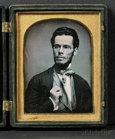 Daguerreotype Portrait of a Young Man Wearing Spectacles