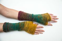 Knit Fingerless gloves, Knitted Fingerless Mittens, Long Arm Warmers, Hand Warmers, Boho Glove, Wrist Warmers, Handmade gift, Mismatched