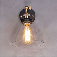Vintage Industrial Modern Contemporary Glass Sconce Funnel Wall Lights Wall Lamp in Home, Furniture & DIY, Lighting, Wall Lights | eBay