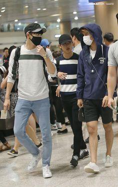 150923 EXO Chanyeol, D.O & Kai | Chongqing Airport to Incheon