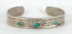 Authentic Vintage Native American hand forged Sterling Silver Navajo 3-stone Turquoise Bracelet