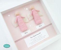 Geschenk Zwillinge Geburt und Taufe, Geschenk für Zwillinge, Geschenkidee für Zwillingsmädchen, Wollfilzengel groß rosa 2