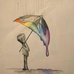 Eine Person die im Regen steht/ Bleistift Zeichnung, Buntstifte