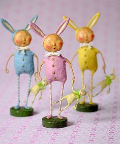 Another great find on #zulily! Bunny Suit Trio Figurine Set #zulilyfinds
