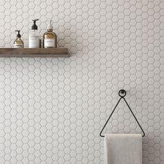 Hexagon Porcelain Mosaic Tile White 2 x 2 Hexagon Porcelain Mosaic Tile White 2 x 2 White Bathroom Tiles, Bathroom Floor Tiles, Tile Floor, Shower Tiles, White Subway Tile Bathroom, Ceramic Tile Bathrooms, Bathroom Cabinets, Kitchen Mosaic Tiles, Tile For Small Bathroom