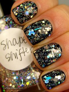 Mix sparkles into clear nail polish and paint over black.