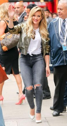 Hilary Duff in her destructed J BRAND Jeans.