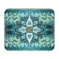 Monogram mousepad, boho desk decor, personalized mousepad, personalized mouse pad, boho mousepad, aqua mousepad, gift for her, coworker gift