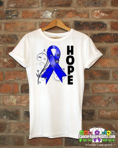 Hope inspires with our line of Colon Cancer HOPE Floral Ribbon shirt featuring an eye-catching floral design with HOPE displayed boldly on the shirt and awareness ribbon for the cause. Wear it during