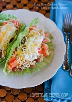 Easy Slow Cooker Chicken Tacos With Lettuce Shells.