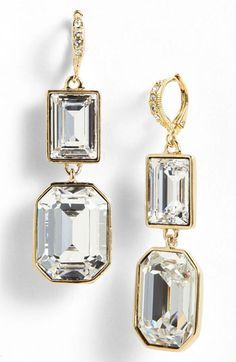 Givenchy Drop Earrings Gold/ Clear Crystal - one would desire these Wedding Accessories, Jewelry Accessories, Fashion Accessories, Jewelry Design, Fashion Jewelry, Gold Drop Earrings, Women's Earrings, Crystal Earrings, Givenchy