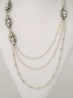 Long Pearl & Brooch Necklace