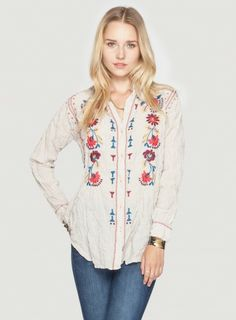 Johnny Was 3J Workshop Barbara Oversized Shirt, $150.00 #embroidery #embroidered #boho #chic #style #fashion