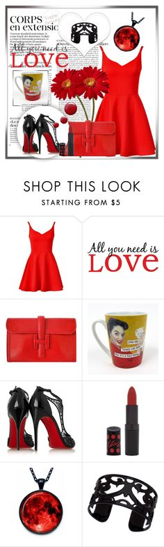 """""""red outfit.."""" by ainzme ❤ liked on Polyvore featuring WallPops, Hermès, Anne Taintor, Christian Louboutin, Rimmel, Lisa August and Topshop"""