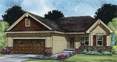 ePlans Ranch House Plan – Three Bedroom Craftsman Ranch – 1373 Square Feet and 3 Bedrooms from ePlans – House Plan Code Cheap House Plans, Garage House Plans, Craftsman Style House Plans, Ranch House Plans, Small House Plans, Rambler House Plans, Craftsman Ranch, Craftsman Homes, Craftsman Exterior